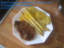 Fleisch – Wildschweinenackensteaks mit gebratenen Spargel und Sauce Hollandaise - Rezept