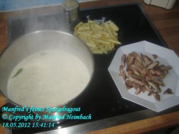 Spargel – Spargelragout mit gegrillten Streifen von Wildschweinnackensteak - Rezept