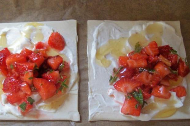 Snack/Vorspeise: Blätterteigtaschen mit Balsamico-Erdbeeren und Ziegenfrischkäse - Rezept - Bild Nr. 5