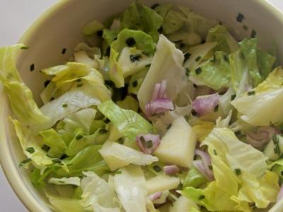 Salate: Einfacher grüner Salat mit Apfel und Schalotte - Rezept