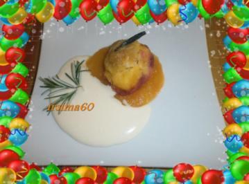 Rezept: Pfirsiche aus dem Ofen in Bratfolie gegart mit Rosmarin - Mascapone