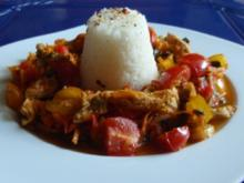 Bunte Putenstreifen mit Jasmin-Reis - Rezept