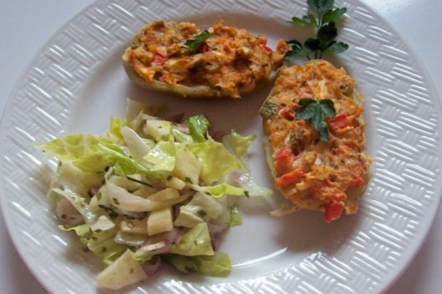 Gratinierte Kartoffeln mit Ziegenfrischkäse und Apfel-Paprika-Füllung - Rezept - Bild Nr. 7