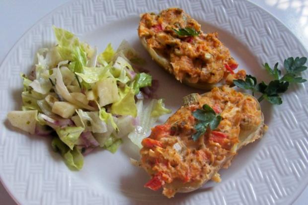 Gratinierte Kartoffeln mit Ziegenfrischkäse und Apfel-Paprika-Füllung - Rezept - Bild Nr. 8