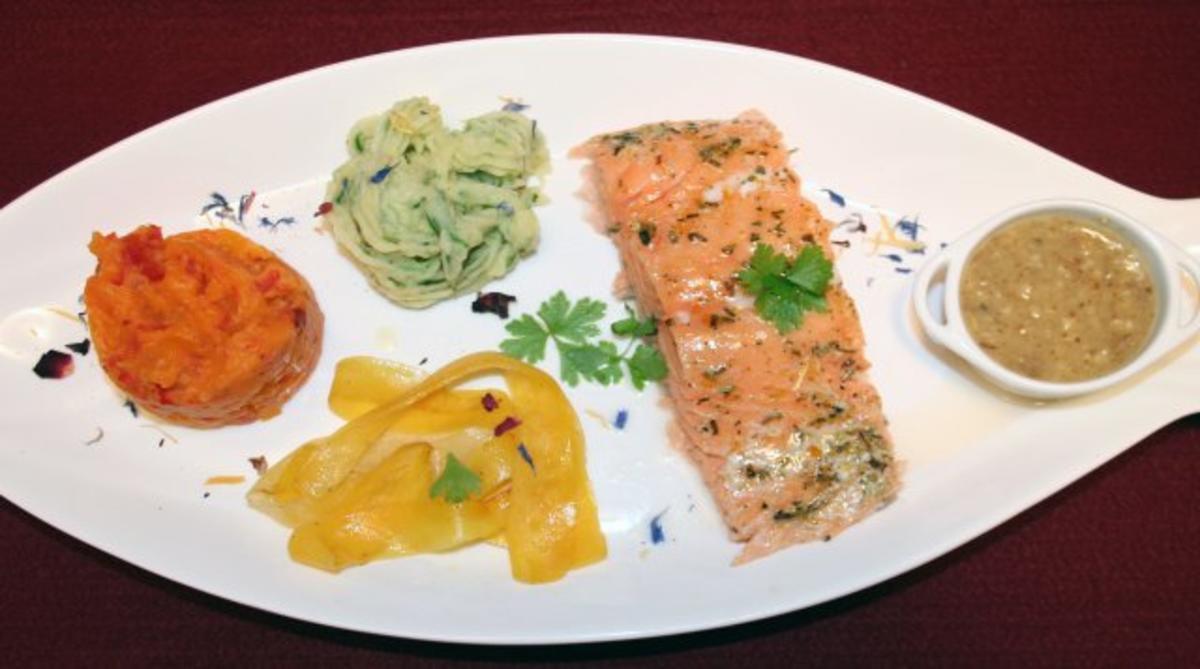 Paprika-Kräuter-Kartoffelpüree mit gekräutertem Lachs an jungem Gemüse und Haselnussbutter - Rezept von Das perfekte Dinner