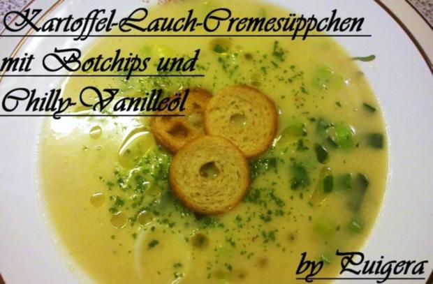 Kartoffel-Lauch-Cremesüppchen mit Vanille-Chillyöl und Brotchips - Rezept - Bild Nr. 4