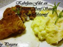 Gebackenes Kabeljaufilet an Estragon-Senf-Sauce und Kartoffelstampf - Rezept