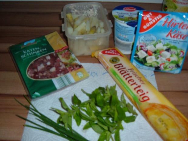 Blätterteig : mit Spargel , Schinken und Feta - Rezept - Bild Nr. 2
