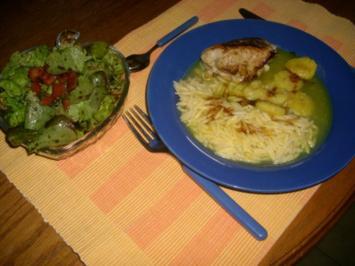Schnweinetasche á la Karibik mit Salat - Rezept