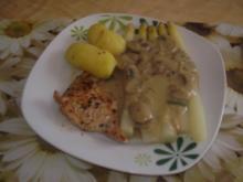 Putenschnitzel mit Pilzrahm und Frühkartoffeln - Rezept