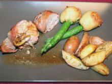 Gefülltes Schweinefilet, frittierte Zucchini und Kartoffeln - Rezept
