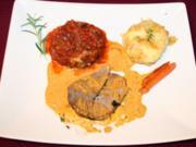 Lammkeule aus dem Römertopf an vanillierten Babymöhren mit Ratatouille und Kartoffelgratin - Rezept