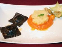 Schokoravioli mit Apfel-Papaya-Ragout - Rezept