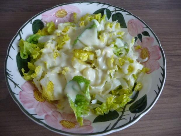 Salat : Romana-Salat mit Senf-Joghurt-Dressing - Rezept - Bild Nr. 5