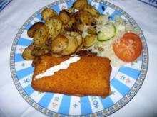 Fischfilet mit Bratkartoffeln und Remouladensoße - Rezept