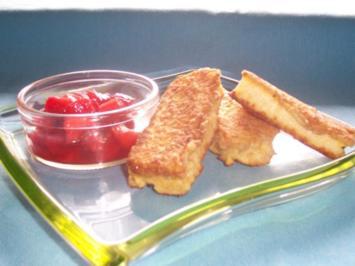 Griesschnitten an Erdbeerragout - Rezept