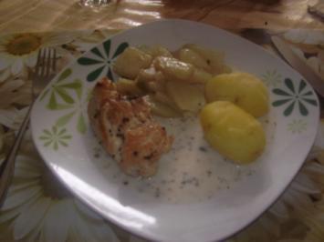 Hähnchen in Frischkäsesoße mit Kohlrabi-Butter-Gemüse - Rezept