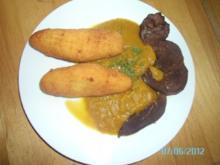 Rehschnitzel mit Rotweinsoße und (selbstgemachten) Kroketten - Rezept