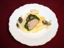 Kalbsfilet mit Bärlauchkruste auf Spargel-Morchel-Ragout - Rezept