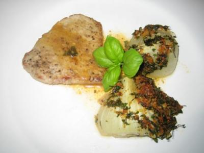 Scaloppine con finocchi al forno - Kalbschnitzel mit überbackenem Fenchel - Rezept