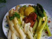 Zweierlei  Spargel mit Petersilienkartoffeln - Rezept