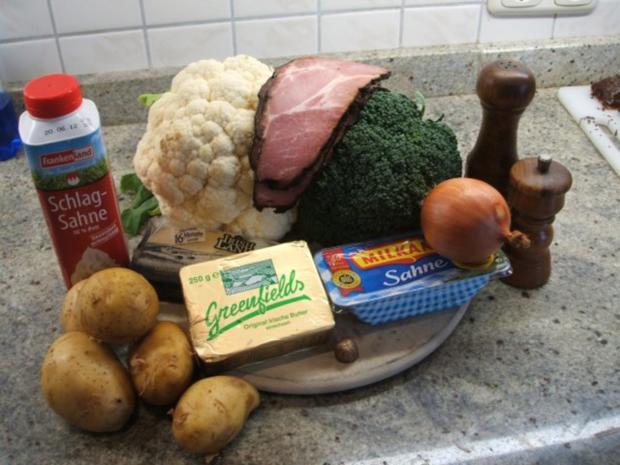 Auflauf: Blumenkohl-Broccoli-Auflauf mit geräuchertem Schweinehalsbraten - Rezept - Bild Nr. 3