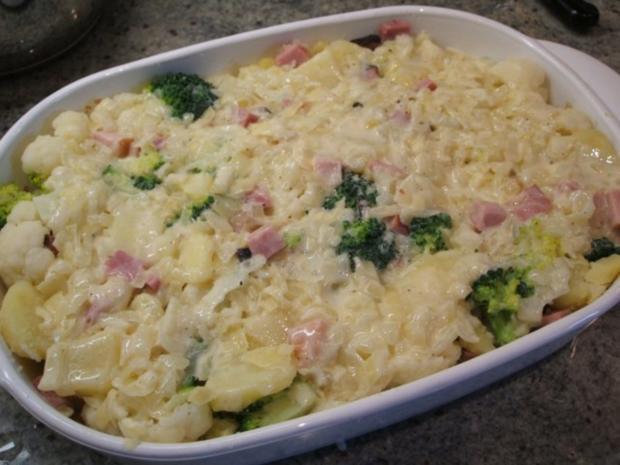 Auflauf: Blumenkohl-Broccoli-Auflauf mit geräuchertem Schweinehalsbraten - Rezept - Bild Nr. 10