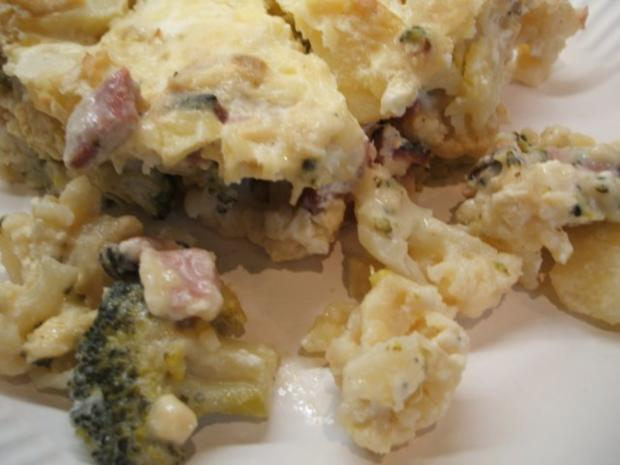 Auflauf: Blumenkohl-Broccoli-Auflauf mit geräuchertem Schweinehalsbraten - Rezept - Bild Nr. 2