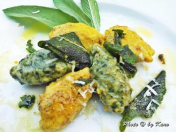 Nocken .. Parmesan Möhren - Emmentaler Spinat mit Salbeibutter - Rezept