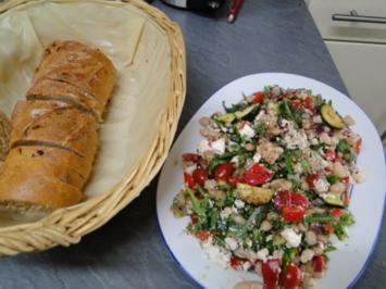 Weißer Bohnensalat mit Schafskäse und Ruccola - Rezept