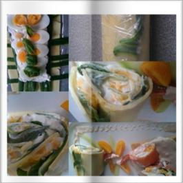 Rezept: Meine Salate = Gurkenröllchen mit Wasabicocktailsosse