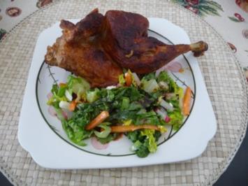 Salat : Gemischten Salat mit ´nem 1/2 Hähnchen - Rezept