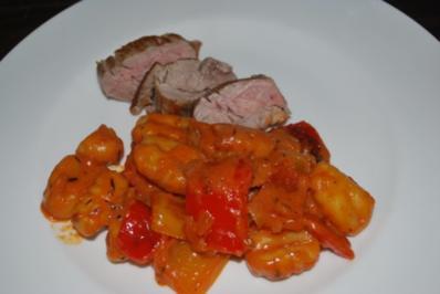 Rezept: Paprika-Gnocchi-Pfanne zu Schweinefilet