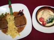 Stufato alla inilanese, Tagliatelle alla Alfredo & Broccoli e cavolfiore - Rezept