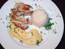 Hühnerbrust in Zitronengras-Hollandaise und Reis - Rezept