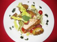 Gegrillte Hähnchenbrust mit Chorizo und Salbei-Apfel-Gorgonzoladip auf Fenchel-Sellerie - Rezept