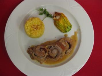 Involtini mit Aubergine und Parmaschinken, Zucchiniblüten und Risotto alla parmigiana - Rezept
