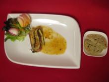 Päckchen vom Zicklein an Orangen-Senf-Soße mit Gewürzbrot gebacken in Terra Sigillata - Rezept
