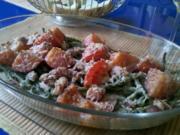 Gemüse: Grüne Bohnen - Tomatenauflauf mit Speck und Käse - Rezept