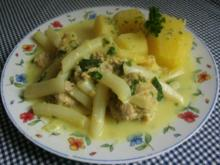 Zitronige Klöpse mit Spargel in leckerer Sosse - Rezept