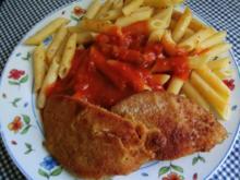 Nudeln in  Tomatensosse und Jägerschnitzel - Rezept