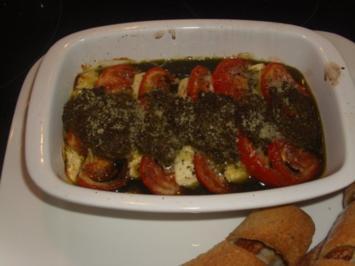 Tomaten-Feta-Pesto-Überbacken - Rezept