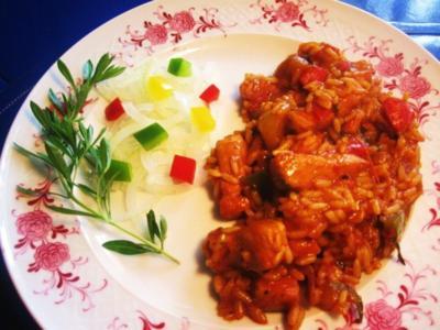 Mediterranes Reisfleisch mit Pute ... - Rezept
