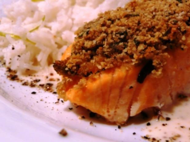 Lachsschnitte mit Currykruste - Rezept