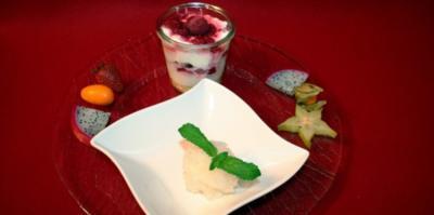 Himbeer-Mascarpone-Torte im Glas und beschwipstes Zitronensorbet - Rezept