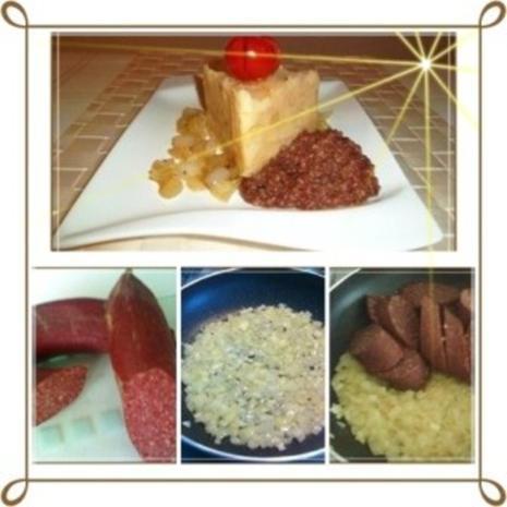 Blutwurst mit Stampfkartoffeln und viel gebratenen Zwiebeln - Rezept - Bild Nr. 2