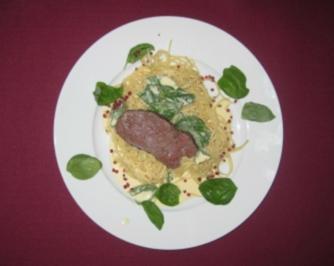 Spaghetti in Zitronen-Basilikum-Sahnesoße mit Rinderfiletspitzen - Rezept