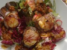 Salat mit Rinderfilet,Ziegenkäse,Bacon und Tomatenvinaigrette - Rezept