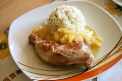 Marinierte Hähnchenkeulen mit Ananas - Rezept