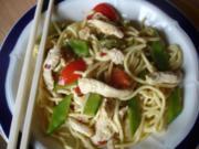 Asiatisches Chili-Hähnchenbrustfilet mit Mie-Nudeln - Rezept